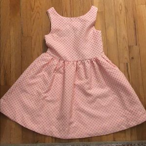 Kate Spade girls pink dotted party dress. Size 8Y